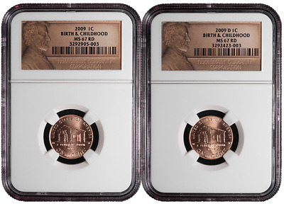 2009 P&D 1c Birth & Childhood Lincoln Cent 2pc. Set NGC MS67 Red