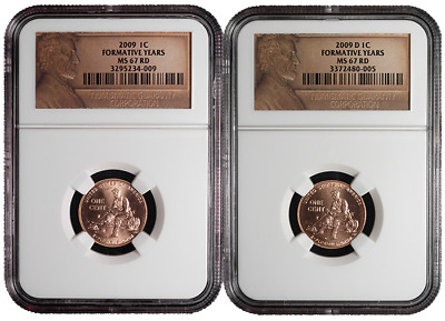 2009 P&D 1c Formative Years Lincoln Cent 2pc. Set NGC MS67 Red