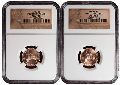 2009 P&D 1c Professional Life Lincoln Cent 2pc. Set NGC MS67 Red