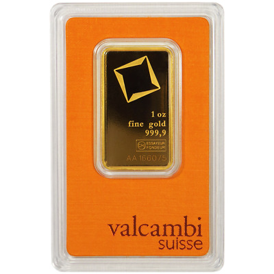 Daily Deal -1 Troy oz Valcambi Suisse .9999 Fine Gold Bar Sealed In Assay