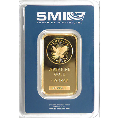 1 Troy oz Sunshine Mint Gold Bar .9999 Fine Sealed In Assay Mint Mark SI