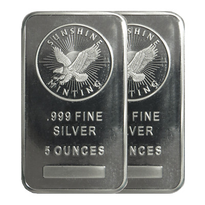 Lot of 2 - 5 Troy oz Sunshine Mint .999 Fine Silver Bar Mint Mark SI Sealed