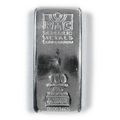 100 Troy oz Republic Metals Corp. RMC Silver Bar .999 Fine
