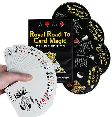 Royal Road to Card Magic Deluxe Set 4 DVDs Delands Automatic Marked Deck