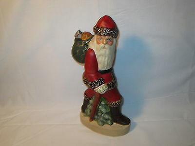 """Vaillancourt Folkart 12.5"""" Father Christmas with Walking Stick #162"""