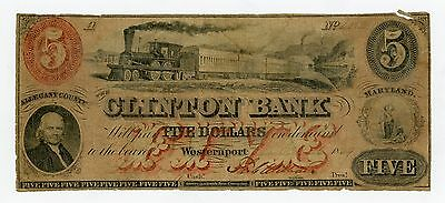 1850's $5 The Clinton Bank - Westernport, MARYLAND Note w/ TRAIN