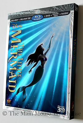 Authentic Disney The Little Mermaid 3D Blu-ray DVD Digital Copy with Slipcover