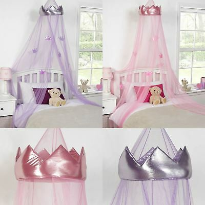 Princess Crown Bed Canopy Kids Childrens Girls Insect Mosquito Net Pink Purple