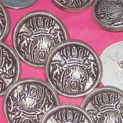 """COOL Set 10 Fancy Vintage New SILVER metal military style picture buttons 1"""" Lrg"""