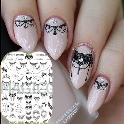 3D Nail Art Stickers Tattoos Black Lace Necklace Manicure Decals Decor Tips DIY