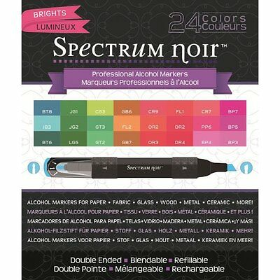 Crafters Companion SPECTRUM NOIR Set of 24 Alcohol based Pens BRIGHTS Refillable