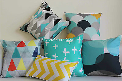 Art Aqua Yellow Geometry Home Decor Cotton CUSHION COVER PILLOW CASE 18""