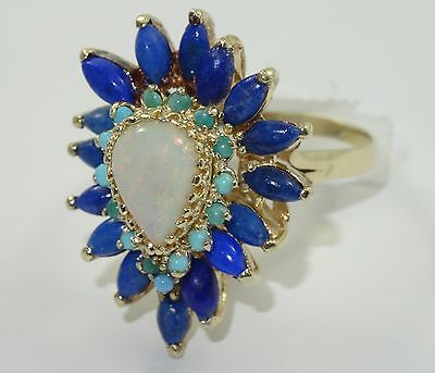 ANTIQUE EDWARDIAN SOLID 10K GOLD w/ LARGE OPAL, LAPIS & TURQUOISE COCKTAIL RING