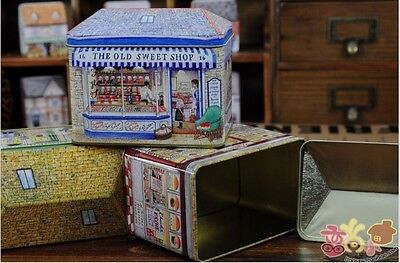 Victorian Shops Storage Tin Box THE OLD SWEET SHOP  Blue  NEW