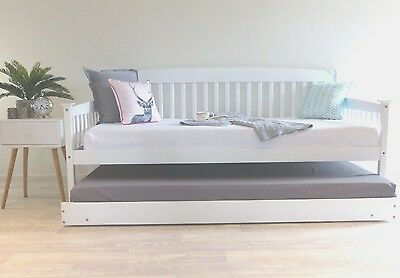 Solid Pine White Single Day Bed Trundle Guest Bed Childrens Teenagers Brand New