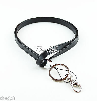 Hot Men Black Faux Leather Neck Lanyard for ID badge Holder
