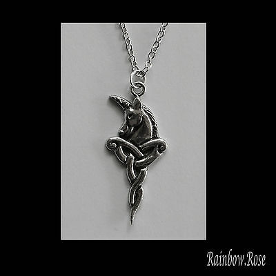 Pewter Necklace on chain #212 CELTIC UNICORN HEAD - Silver Tone