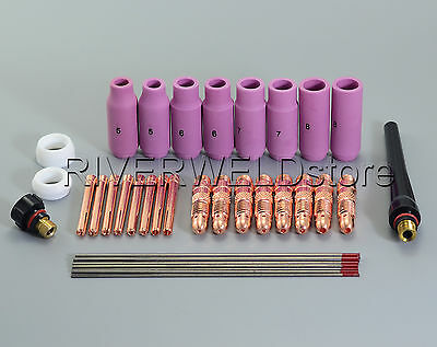 TIG Collet Body Back Cup 2% Thoriated Tungsten & TIG Torch SR WP 17 28 26 36pcs