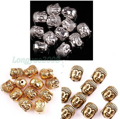 2015 Tibetan Silver Buddha Head Spacer 10x8mm Beads for Jewelry Making 20 Pcs