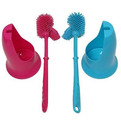 Two-side WC Toilet Bathroom Brush+Holder Dirty Nonstick Blue Green Red 2 Colors