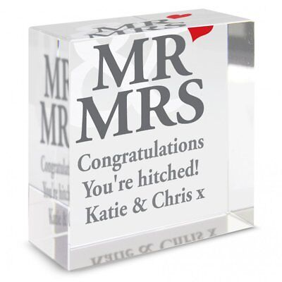 Personalisiert Mr & Mrs Medium Kristall Andenken