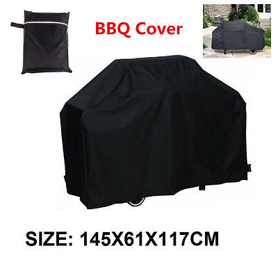 """57"""" Black BBQ Cover Outdoor Rain Waterproof Barbecue Grill Protector Storage"""