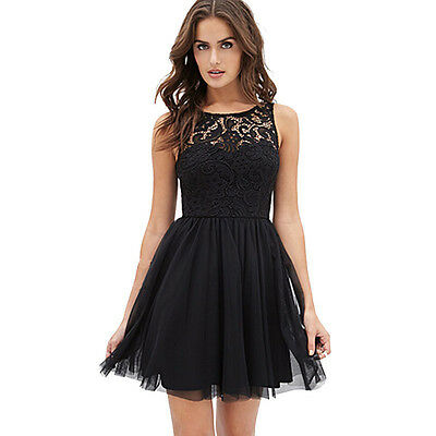 1PC OVERMALL Women Sleeveless Lace Backless Ball Gown Girl Summer Cocktail Dress