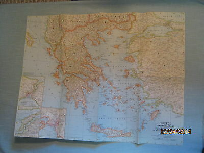 VINTAGE GREECE AND THE AEGEAN MAP National Geographic December 1958