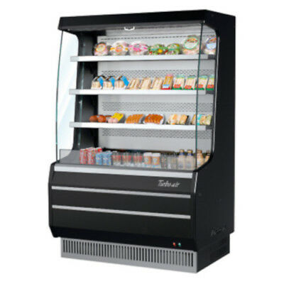 Turbo Air TOM-40MB Black Vertical Open Display Case Cooler Medium Height