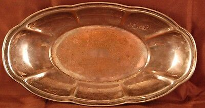 Antique Oval Silver on Copper Plate Serving Dish Stamped Hallmark Lion -4F!