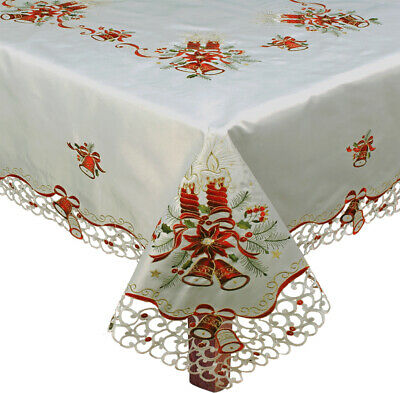 """Christmas Embroidered Bell Poinsettia Candle Tablecloth 70x104"""" + 12 Napkins 38E"""