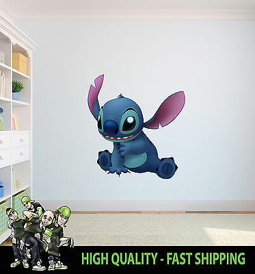 Printed Wall Art Stitch Lilo And Stitch Cute Alien Graphic Sticker Kids Bed Room