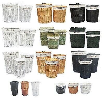 Brown Black White Wicker Oval Round Rectangle Laundry Basket With Linning