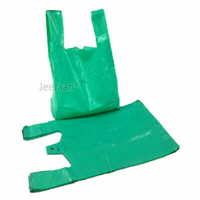 PLASTIC CARRIER BAGS STRONG VEST RECYCLE GIFT BAGS Blue Green 11x17x21 22mu