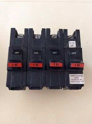 Lot of 4 FPE 15 Amp 1 Pole Stab-Lok Type ''NA'' (Thick) Federal Pacific Breakers
