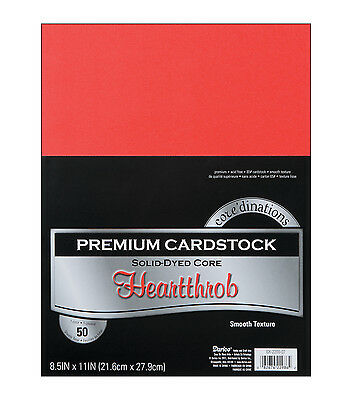 """NEW Core'dinations Cardstock Scrapbooking Paper 8.5"""" x 11"""" RED HEARTTHROB 50 sh"""