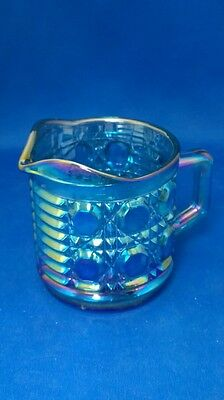 Vintage Iridescent Blue Carnival Glass Creamer Cup, Indiana Glass