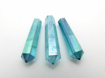 Aqua Aura Quartz 1 Faceted Double Terminated Point Crystal Choose Size