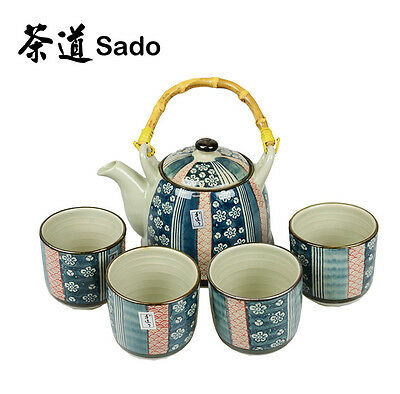Tea Set✪5 Piece Japanese style teaset✪Teapot with 4 cups✪Porcelain✪Large