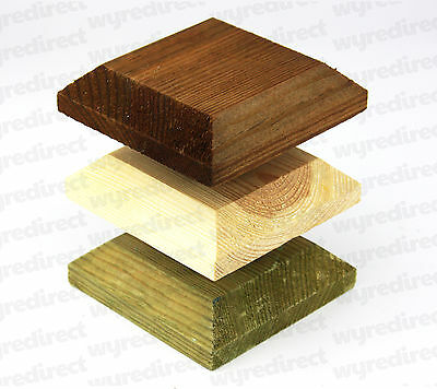 "Wooden Post Top For 3"" 75mm Fence Post Cap Decking Untreated, Green, or Brown"