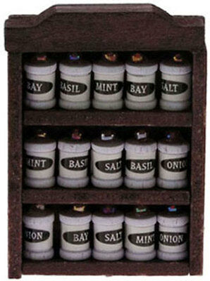 Spice Rack With Spices, Dolls House Miniature Kitchen Or Shop Accessory