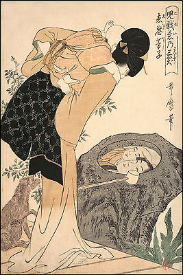 Japanese Art Print: Mother and Child, Reflection in a Pool: Utamaro Reproduction