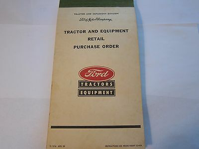 OEM 1959 Ford Tractor & Equipment Retail Purchase Order Booklet LOTS More Listed