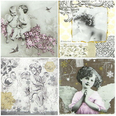 4x Paper Napkins for Decoupage Decopatch Romantic Angel -Mix
