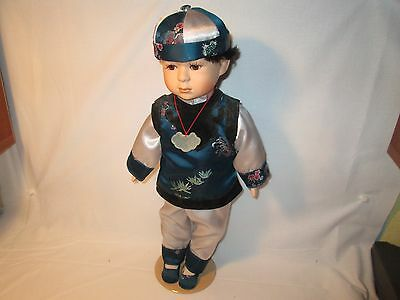 "18"" Chinese Boy Porcelain Doll Unknown Maker No Box"