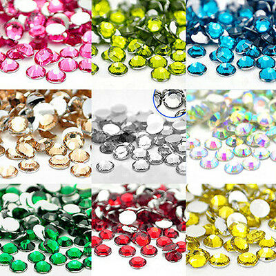 1000Pcs Nail Art Flatback Crystal AB Facets Resin Round Rhinestone Beads 2mm DIY