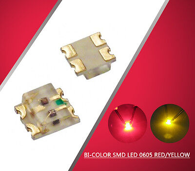 0605RY 100pcs SMD LED 0605 Bi-Color Red/Yellow  LEDs  Everest NEW