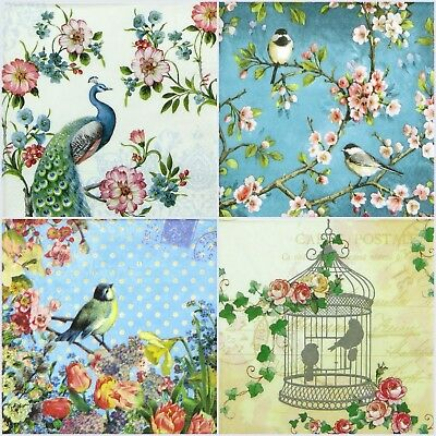 4x Single Table Party Paper Napkins for Decoupage Decopatch Love Birds -Mix