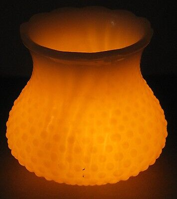 VINTAGE ELECTRIC FITTER HOBNAIL OPALESCENT GLASS SHADE for FLOOR TABLE WALL LAMP
