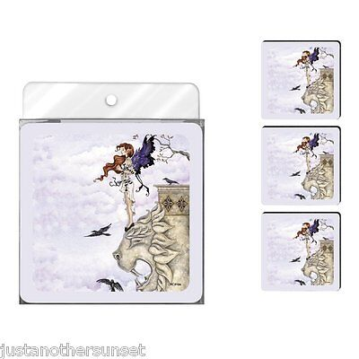 Amy Brown Neoprene Foam Printed Coasters, Waiting Fairy New Set of 4